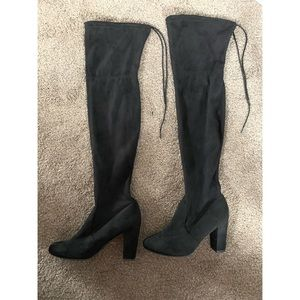 Black over the knee boots from JustFab